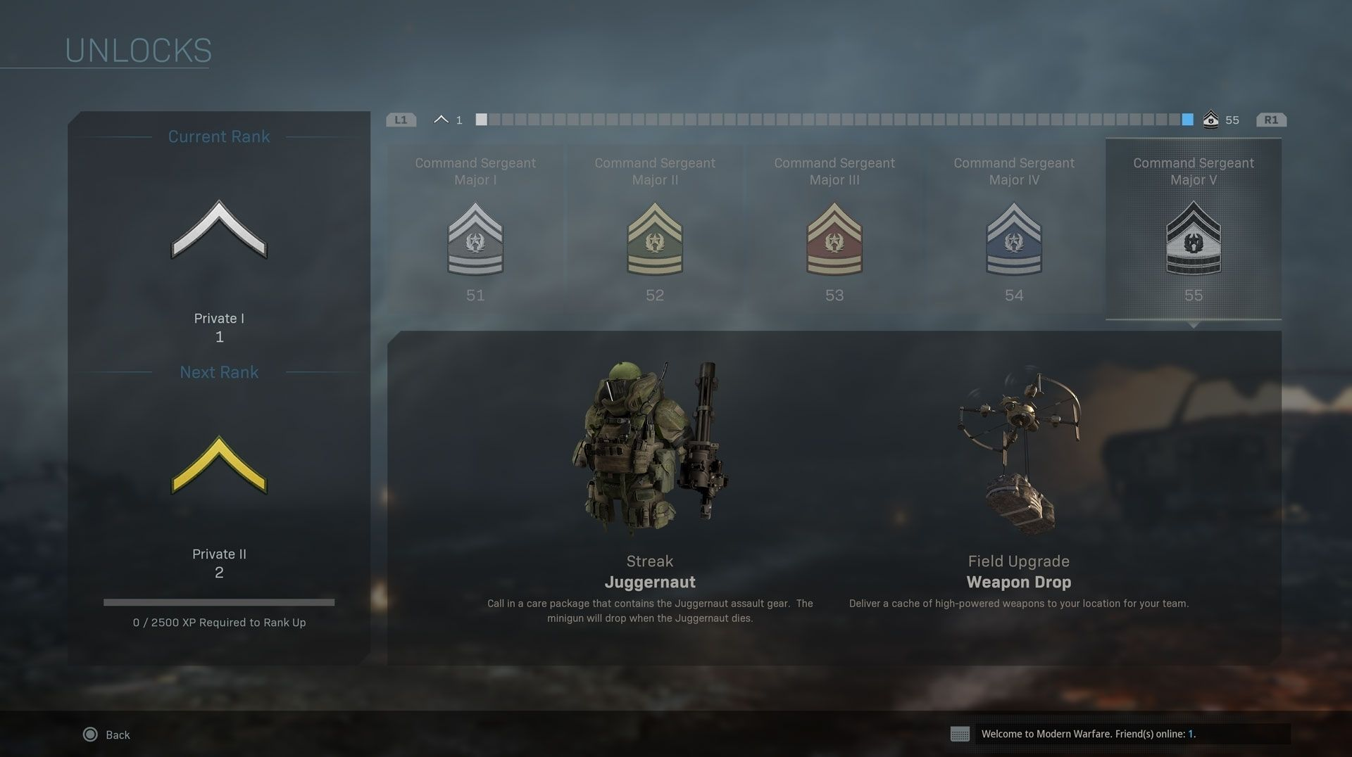 call of duty modern warfare leveling system